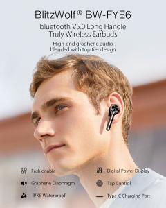 Casti Bluetooth 5.0  True Wireless Blitzwolf BW-FYE6, TWS, Dual Dynamic Driver, timp mare de functionare5