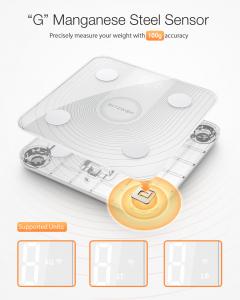 Cantar corporal Smart BlitzWolf Body Fat, 13 valori masurate, BMI, Alb1