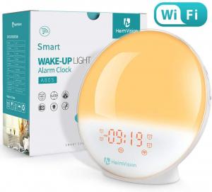 Radio cu ceas Smart Wifi HeimVision, simulare rasarit, control din smartphone, lampa de veghe cu 7 culori, 20 de intensitati a luminii, incarcare USB, Alexa [1]