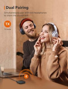 Adaptor Bluetooth Transmitator si Receptor Audio 2 in 1 TaoTronics TT-BA08, Bluetooth 5.0, conectare 2 casti simultan3