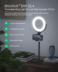 Lampa Circulara LED BlitzWolf BW-SL4 Make up Profesionala, Ring Light 64 Leduri cu Lumina Rece/Calda Tip Inel [5]