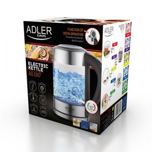 Fierbator ADLER AD 1247 cu reglare temperatura, 2200wati,1.7l, sticla,leduri iluminare,negru/inox2