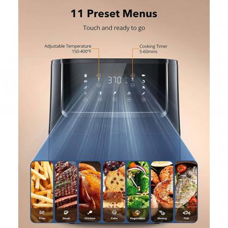 Friteuza cu aer cald, fara ulei TaoTronics TT-AF001 Air Fryer, 1750W, 6L, Control tactil, 11 Programe Presetate [4]
