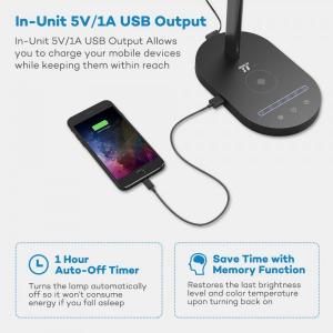Lampa de birou LED TaoTronics TT-DL31, protectie ochi, control touch, Incarcare Telefon Wireles si USB3