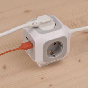 Prelungitor Brennestuhl forma de cub cu prize si USB, 1.4m3