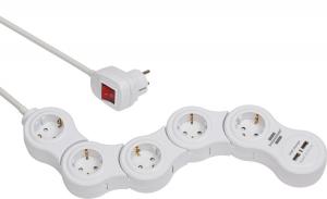 Prelungitor reglabil Brennenstuhl 5 prize si 2 USB-uri, 1,4m, Comutator de siguranta [0]