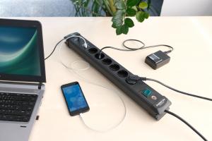 Prelungitor Brennenstuhl cu protectie Premium-Line, 6 prize si 2 usb-uri, USB-C, 3m2
