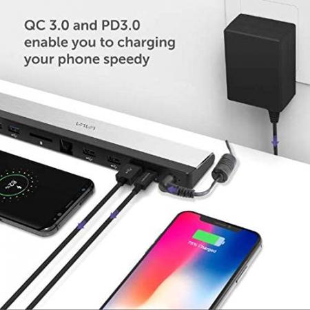 Adaptor 10 porturi Docking Station VAVA VA-DK002, Ethernet, SD Card, USB, QC, PD, pentru MacBook Pro si USBC [5]