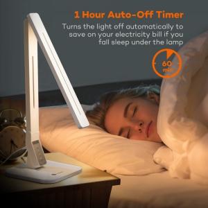Lampa de birou LED TaoTronics TT DL02 control Touch, 4 moduri, 14W, USB - Alba5