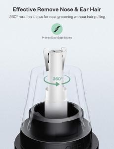 Trimmer pentru nas/urechi Anjou AJ-FS005, Cap detasabil si lavabil, Lumina LED, Baterii, Negru [5]