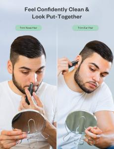 Trimmer pentru nas/urechi Anjou AJ-FS005, Cap detasabil si lavabil, Lumina LED, Baterii, Negru [2]