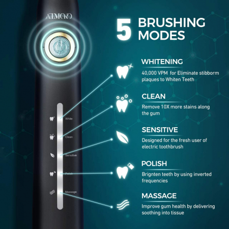 Periuta de dinti electrica ATMOKO AMHP126 cu 8 capete DuPont, 3D, 5 moduri, temporizator 2 min, 40000 pulsatii/min [1]