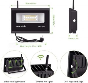 Set 2 proiectoare de podea LED RGB Novostella, Smart, Wifi, Alexa,Google , 20W, Exterior IP66 waterproof5