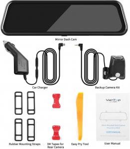 "Camera auto DVR Dubla Oglinda VanTop H610, 2.5K, Bord si Spate, Touch-Screen, Unghi 160 grade, Senzor Sony IMX 335, G Senzor, Display 10"" IPS6"