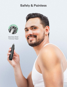 Trimmer pentru nas/urechi Anjou AJ-FS005, Cap detasabil si lavabil, Lumina LED, Baterii, Negru [7]