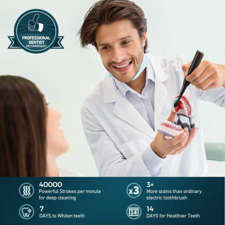 Periuta de dinti electrica ATMOKO AMHP126 cu 8 capete DuPont, 3D, 5 moduri, temporizator 2 min, 40000 pulsatii/min [6]
