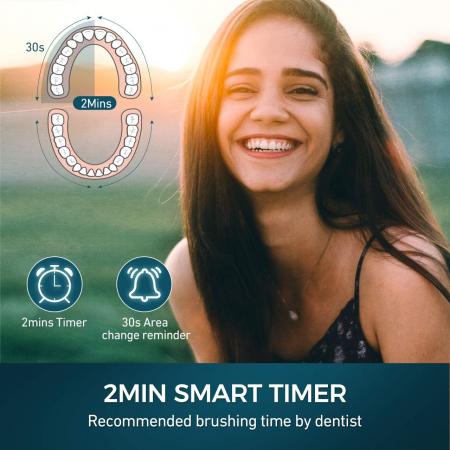 Periuta de dinti electrica ATMOKO AMHP126 cu 8 capete DuPont, 3D, 5 moduri, temporizator 2 min, 40000 pulsatii/min [3]