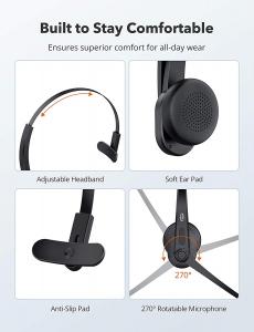 Casti wifi TaoTronics TT-BH041, Microfon, AI Noise Cancelling, Call Center, Bluetooth 5.0, functionare 34 ore5