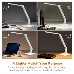 Lampa de birou LED TaoTronics TT DL02 control Touch, 4 moduri, 14W, USB - Alba8