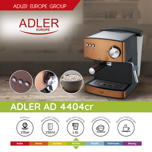 Espressor profesional ADLER AD 4404, 850W, 15 bar, 1.6l, Aramiu [1]