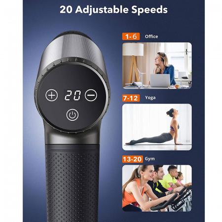 Aparat de masaj Gun TaoTronics TT-PCA004, 6 capete interschimbabile, 20 trepte de viteza [2]