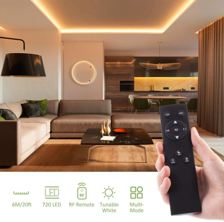 Banda LED Novostella 12m, 120 leduri/m, Dimmer, Culoare lumina reglabila 3000k - 6000K, Telecomanda [2]