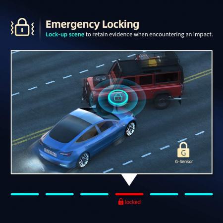 "Camera auto DVR Dubla Oglinda VanTop H609, FullHD, Bord si Spate, Touch-Screen, Unghi 170 grade, G Senzor, Display 10"" IPS7"