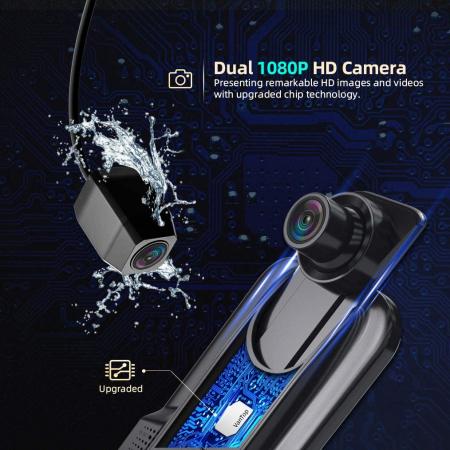 "Camera auto DVR Dubla Oglinda VanTop H609, FullHD, Bord si Spate, Touch-Screen, Unghi 170 grade, G Senzor, Display 10"" IPS4"
