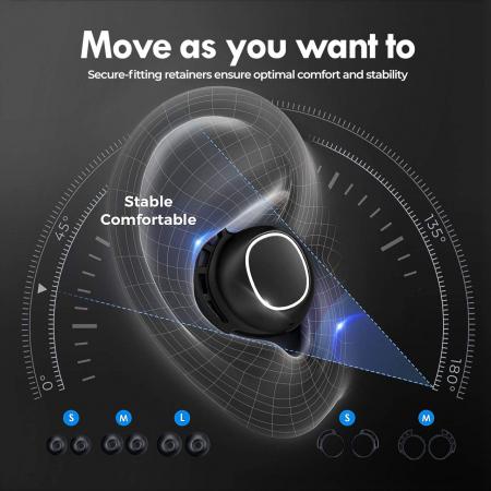Casti audio In-Ear Mpow M30 TWS, Bas Clar, IPX8, 25 ore, USB-C, True Wireless, Bluetooth 5.0, TWS [5]