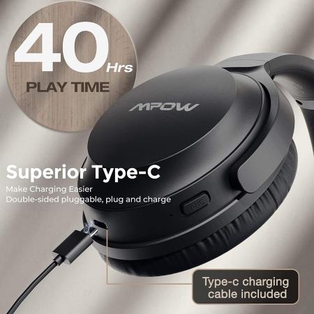Casti audio Mpow H12 IPO, Active Noise Canceling, Bluetooth 5.0, USB-C, Bas puternic, Microfon CVC8.0, Autonomie 40 ore, True Wireless [6]