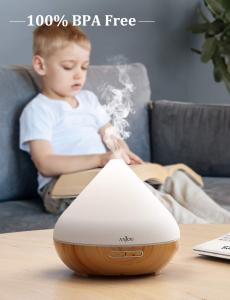 Difuzor aroma cu Ultrasunete Anjou AJ-AD001, 300ml, 13W, LED 7 culori, oprire automata - Nuc Natur [3]