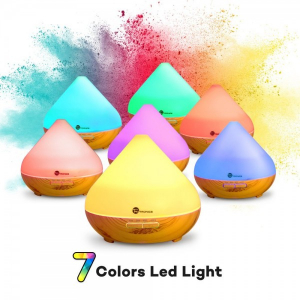 Difuzor aroma cu Ultrasunete TaoTronics TT-AD002, 300ml, 13W, LED 7 culori, oprire automata - Nuc natur1