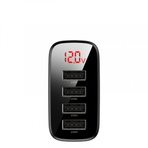 Incarcator USB Premium Baseus Mirror Lake Digital Display 4x Usb Travel Charger 30w 6a ,negru2