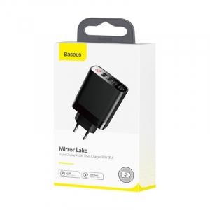 Incarcator USB Premium Baseus Mirror Lake Digital Display 4x Usb Travel Charger 30w 6a ,negru [5]
