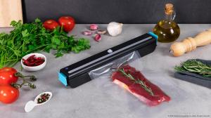 Aparat de vidat Cecotec FoodCare SealVac 600 Easy, 85 W, Presiune vid 0.6 bar, Vidare rapida ~10 secunde, Iluminare LED, Design compact, Silentios, Negru/Albastru [2]