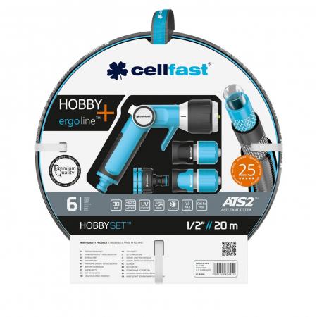 """Set furtun pentru gradina Premium Cellfast HOBBY cu 6 straturi, 1/2"""", Armat, 20m, protectie UV, antirasucire, pistol multifunctional, conectori [0]"""