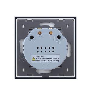 Intrerupator dublu cu touch Welaik, Wireless, Telecomanda inclusa, Negru [4]
