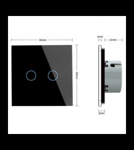 Intrerupator dublu cu touch Welaik panou din sticla, Gri [3]