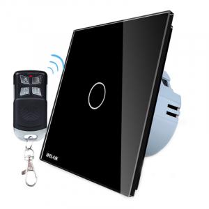 Intrerupator simplu cu touch Welaik, Wireless, Telecomanda inclusa, Negru [0]