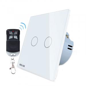 Intrerupator dublu cu touch Welaik, Wireless, Telecomanda inclusa, Alb0