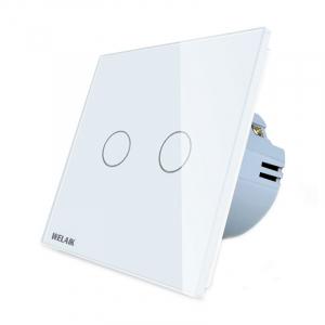 Intrerupator dublu cu touch Welaik, Wireless, Telecomanda inclusa, Alb2