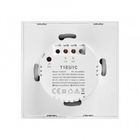 Intrerupator Smart  cu Touch Wifi + RF 433 Sonoff T1 EU TX, 2 canale [2]
