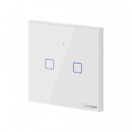 Intrerupator Smart  cu Touch Wifi + RF 433 Sonoff T1 EU TX, 2 canale [1]