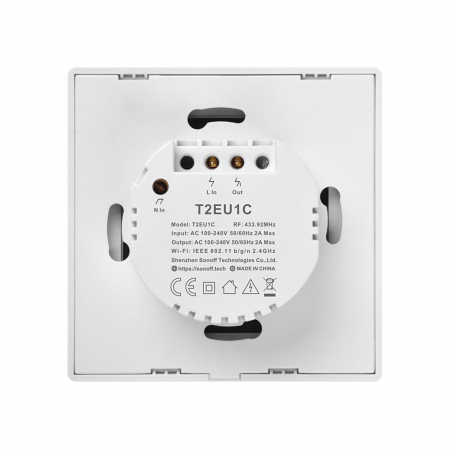 Intrerupator Smart  cu Touch WiFi + RF 433 Sonoff T2EU1C TX, (1 canal) [3]