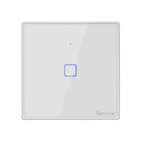 Intrerupator Smart  cu Touch WiFi + RF 433 Sonoff T2EU1C TX, (1 canal) [0]