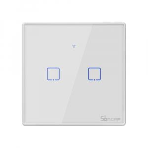Intrerupator Smart  cu Touch WiFi + RF 433 Sonoff T2 EU TX, (2 canale)0