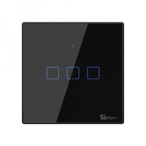 Intrerupator Smart  cu Touch WiFi + RF 433 Sonoff T3 EU TX, (3 canale)0