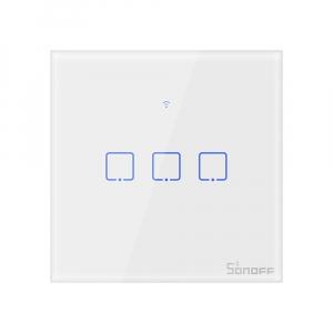 Intrerupator Smart  cu Touch  Sonoff T0 EU TX , WiFi, (3 canale)0