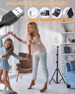 Lampa Circulara LED BlitzWolf BW-SL2 Make up Profesionala, Ring Light 120 Leduri cu Lumina Rece/Calda3