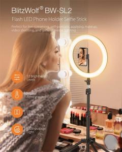 Lampa Circulara LED BlitzWolf BW-SL2 Make up Profesionala, Ring Light 120 Leduri cu Lumina Rece/Calda2